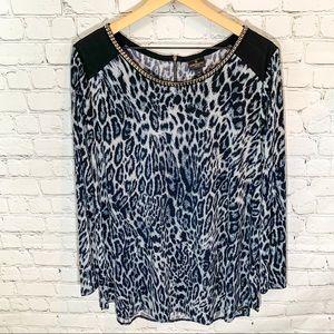 1X Worthington Black & Gray Leopard Blouse